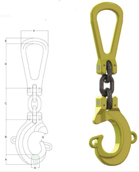 Grade 8 Single Leg Lifting Hook Location System